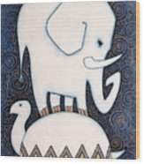 An Elephant On A Turtle Wood Print