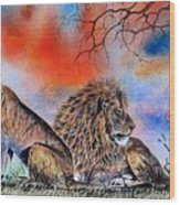 The Royal Lions Of The Mara Wood Print