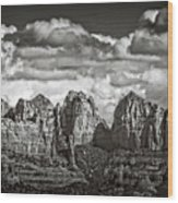 The Rugged Red Rocks In Black And White  Wood Print