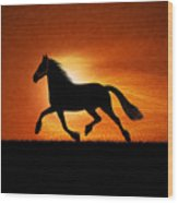 The Running Horse Background Wood Print