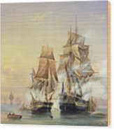 The Russian Cutter Mercury Captures The Swedish Frigate Venus On 21st May 1789 Wood Print by Aleksei Petrovich Bogolyubov