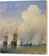 The Russo Swedish Sea War Near Kronstadt In 1790  Wood Print by Aleksei Petrovich Bogolyubov