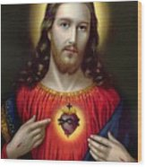 The Sacred Heart Of Jesus Wood Print by English School