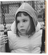 The Sad Girl On A Swing Wood Print