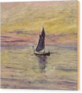 The Sailing Boat Evening Effect Wood Print by Claude Monet