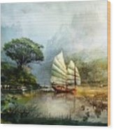 Sailing Boat In The Lake Wood Print