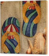 The Sands Of Summer - Flip Flops Wood Print