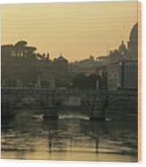 The Sant Angelo Bridge And The Papal Basilica Of Saint Peter At Sunset In Vatican City Wood Print