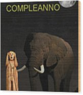 The Scream World Tour African Elephant Happy Birthday Italian Wood Print