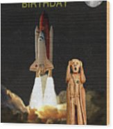 The Scream World Tour Space Shuttle Happy Birthday Wood Print by Eric Kempson