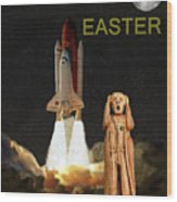 The Scream World Tour Space Shuttle Happy Easter Wood Print