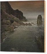 The Sea And The Rocks Wood Print