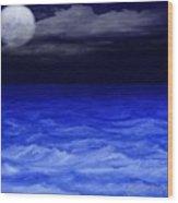 The Sea At Night Wood Print