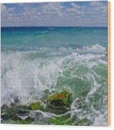 The Sea Breathes Wood Print