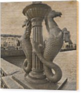 The Seahorses 3 Sepia Wood Print