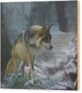 The Searching Wolf Wood Print