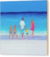 The Seaside Holiday - Beach Painting Wood Print