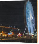 The Seattle Great Wheel 2 Wood Print