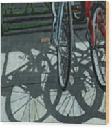 The Secret Meeting - bicycle shadows Wood Print