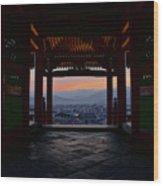 The Setting Sun And Kiyomizu-dera Wood Print