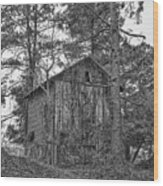 The Shack In Black And White Wood Print