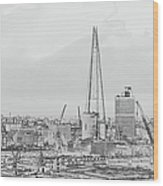 The Shard Outline Poster Bw Wood Print