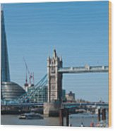 The Shard With Tower Bridge Wood Print