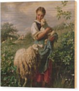 The Shepherdess Wood Print by Johann Baptist Hofner