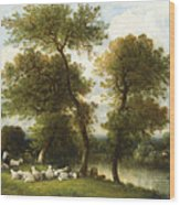 The Shepherd's Break With  His Sheep Wood Print