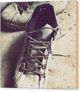 The Shoes He Left Behind Wood Print by Dana Coplin