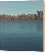 The Shore Of Flathead River Wood Print