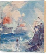 The Sinking Of A German U Boat After Being Rammed By The British Cruiser  Wood Print