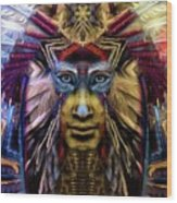 The Sioux Spirit - The Plumed Lion Wood Print