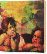 The Sistine Modonna Baby Angels In Abstract Space 20150622 Square Wood Print