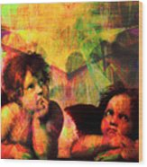 The Sistine Modonna Baby Angels In Abstract Space 20150622 Wood Print
