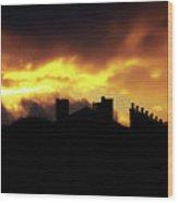The Sky Is On Fire Sunrise Wood Print