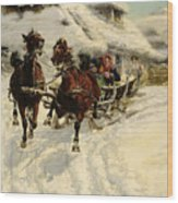 The Sleigh Ride Wood Print