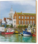The Small Fishing Port Wood Print