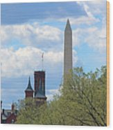 The Smithsonian Castle And Washington Monument In Green Wood Print