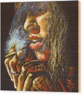 The Smoking Senorita Wood Print