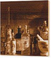 The Snake Oil Shop - Sepia Wood Print