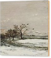 The Snow Wood Print by Charles Francois Daubigny