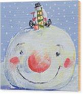 The Snowman's Head Wood Print