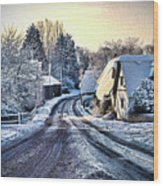 The Snowy Cottages Wood Print