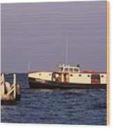 The Sonny S Ferry Docking At Middlebass Island Wood Print
