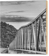 The South Llano River Bridge Black And White Wood Print