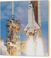 The Space Shuttle Discovery And Its Seven Wood Print