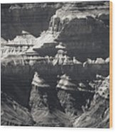 The Spectacular Grand Canyon Bw Wood Print