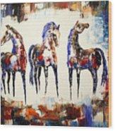 The Spirit Of Texas Horses Wood Print