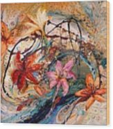 The Splash Of Life 17. Humming-bird And Exotic Flowers Wood Print